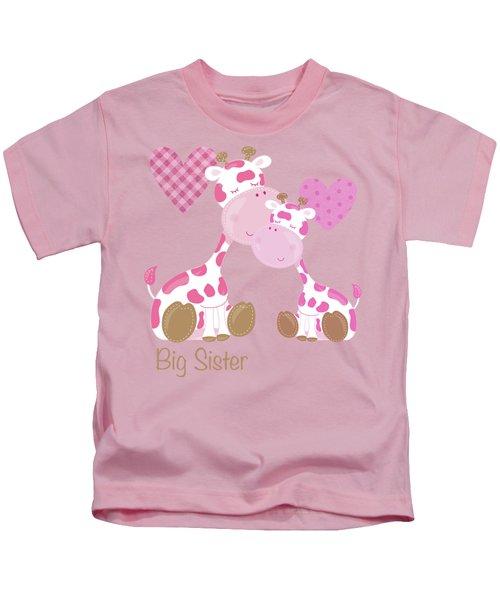 Big Sister Cute Baby Giraffes And Hearts Kids T-Shirt
