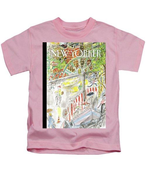 Biking In The Rain Kids T-Shirt