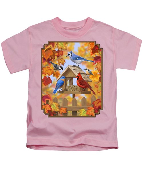 Bird Painting - Autumn Aquaintances Kids T-Shirt by Crista Forest