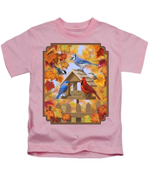 Bird Painting - Autumn Aquaintances Kids T-Shirt