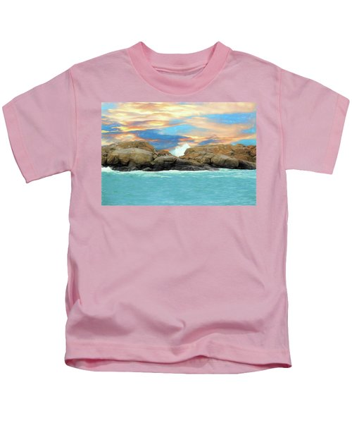 Birds On Ocean Rocks Kids T-Shirt