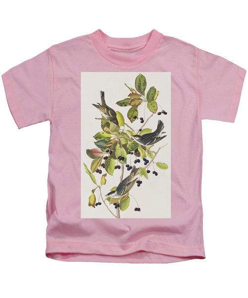 Black Poll Warbler Kids T-Shirt by John James Audubon