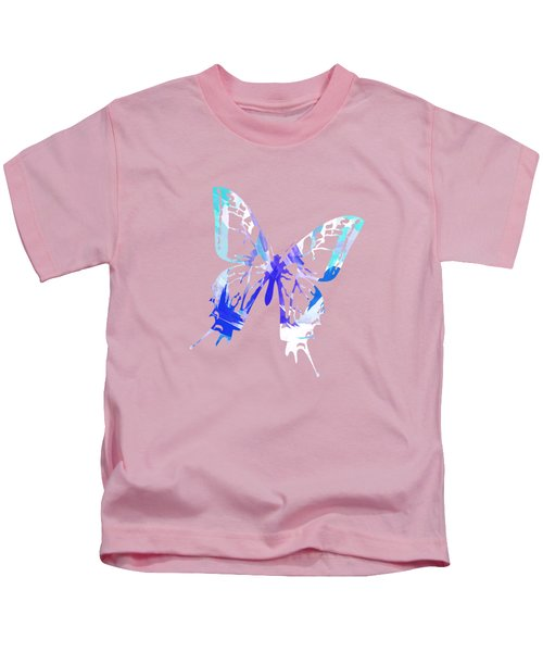 Kids T-Shirt featuring the mixed media Blue Abstract Paint Pattern by Christina Rollo