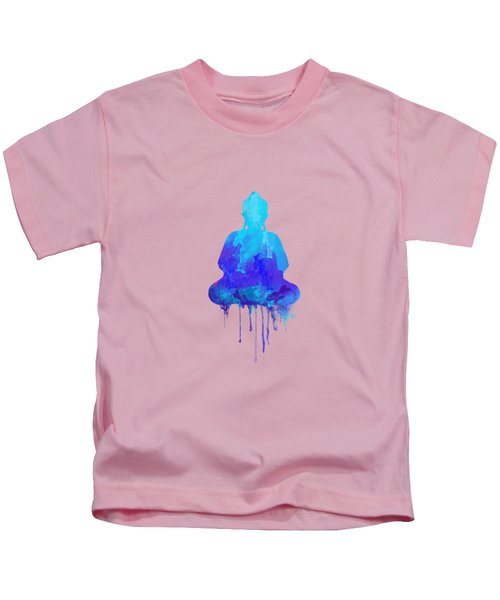 Blue Buddha Watercolor Painting Kids T-Shirt