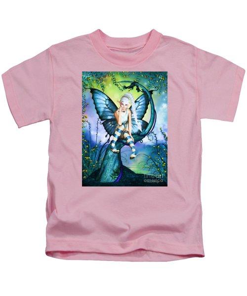 Blue Butterfly Fairy In A Tree Kids T-Shirt