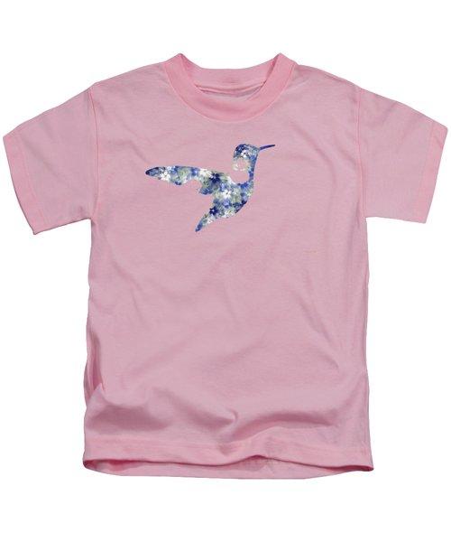 Blue Floral Hummingbird Art Kids T-Shirt