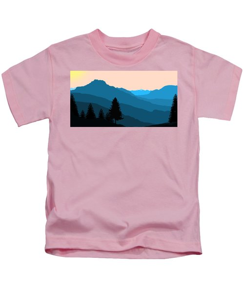Blue Landscape Kids T-Shirt