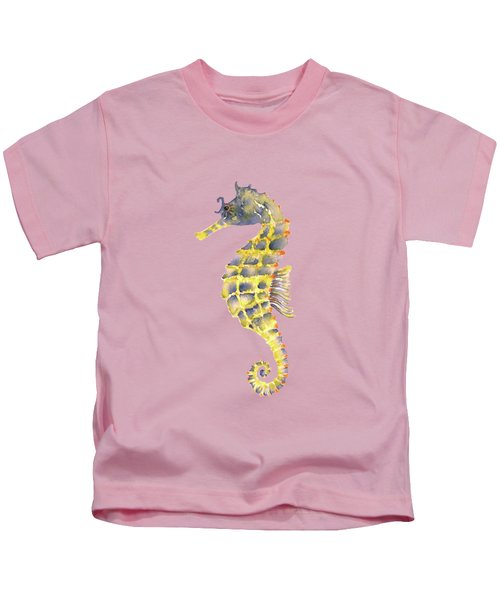 Blue Yellow Seahorse - Square Kids T-Shirt