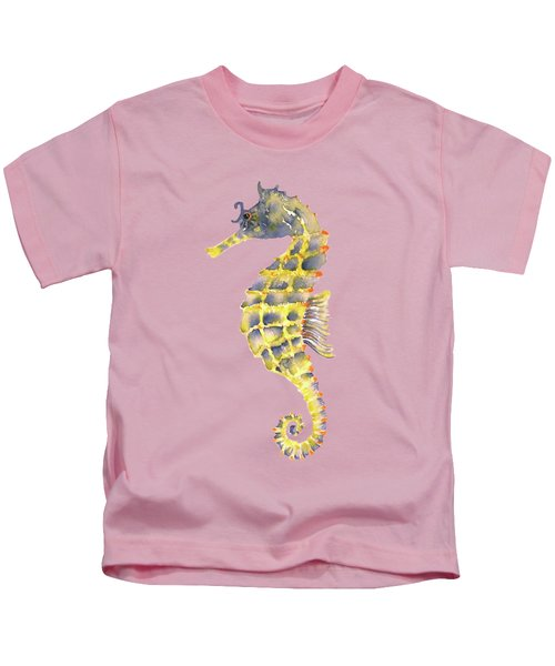 Blue Yellow Seahorse - Vertical Kids T-Shirt