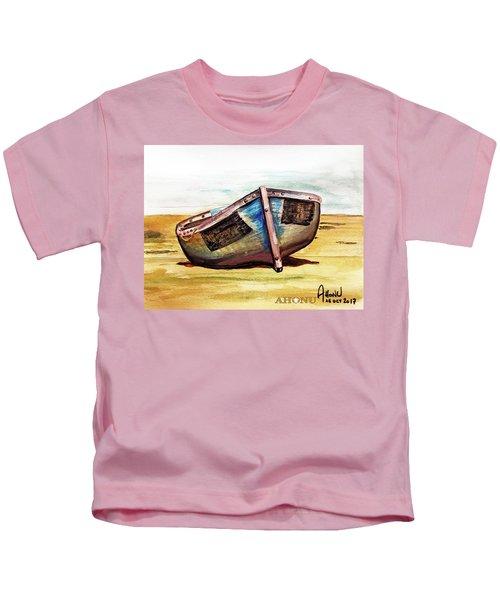 Boat On Beach Kids T-Shirt