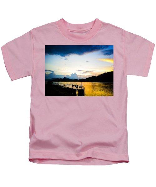Boats In The Mekong River, Luang Prabang At Sunset Kids T-Shirt
