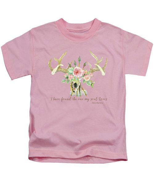 Boho Love - Deer Antlers Floral Inspirational Kids T-Shirt