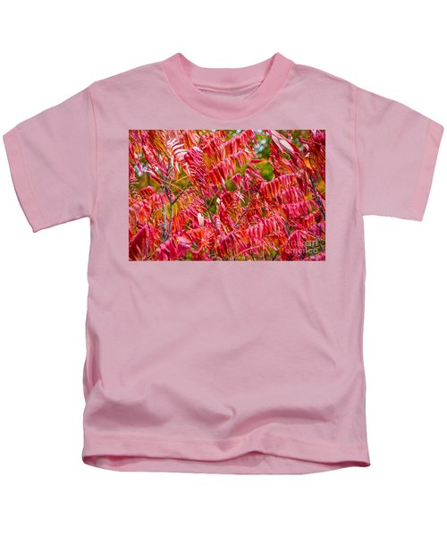 Bright Red Leaves Kids T-Shirt
