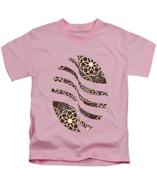 Brown And Silver Floral Pattern Kids T-Shirt