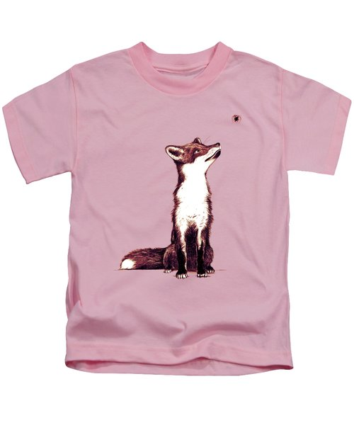Brown Fox Looks At Thing Kids T-Shirt by Nicholas Ely