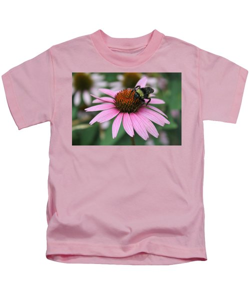 Bumble Bee On Pink Coneflower Kids T-Shirt