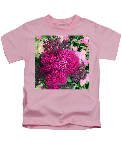 Kids T-Shirt featuring the painting Burst Of Pink Delight by Marian Palucci-Lonzetta