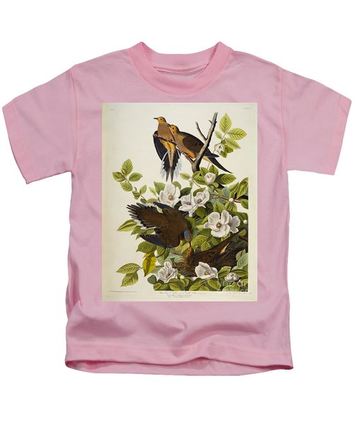 Carolina Turtledove Kids T-Shirt by John James Audubon