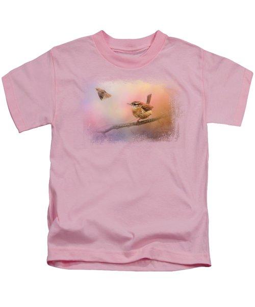 Carolina Wrens Kids T-Shirt by Jai Johnson