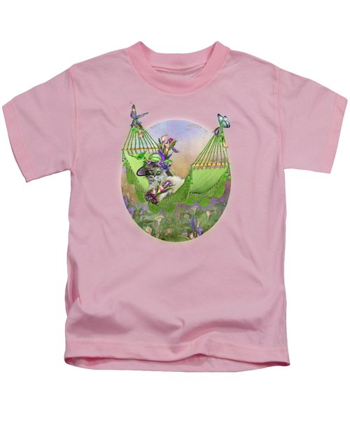 Cat In Calla Lily Hat Kids T-Shirt by Carol Cavalaris