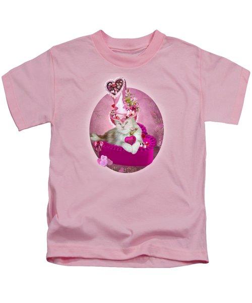 Cat In Valentine Candy Hat Kids T-Shirt