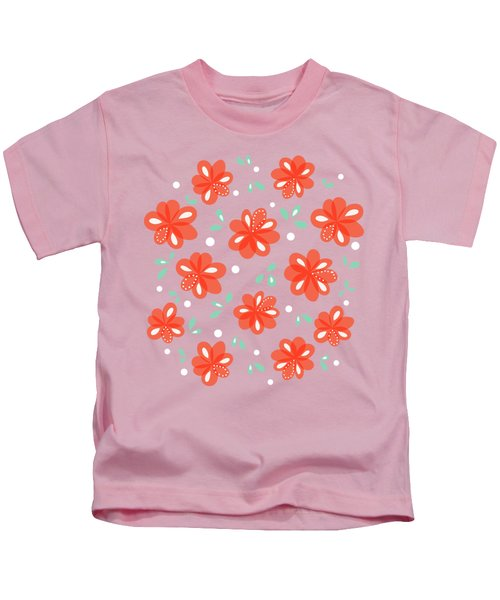 Cheerful Red Flowers Kids T-Shirt