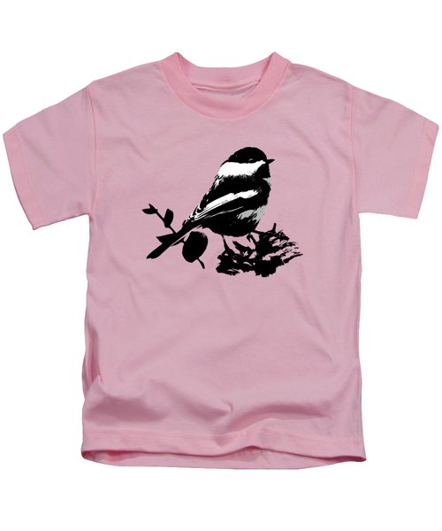 Chickadee Bird Pattern Kids T-Shirt by Christina Rollo
