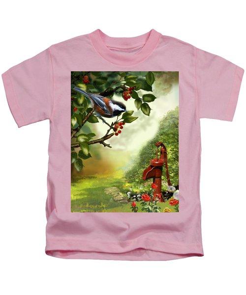 Chickadee Visiting The Water Pump Kids T-Shirt by Regina Femrite