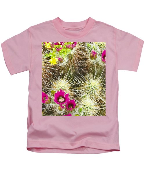 Kids T-Shirt featuring the photograph Cholla Cactus Blooms by Judy Kennedy