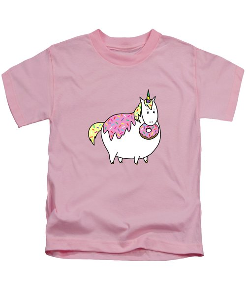 Chubby Unicorn Eating Sprinkle Doughnut Kids T-Shirt by Crista Forest