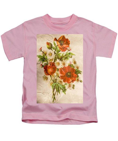 Classic Vintage Shabby Chic Rustic Poppy Bouquet Kids T-Shirt