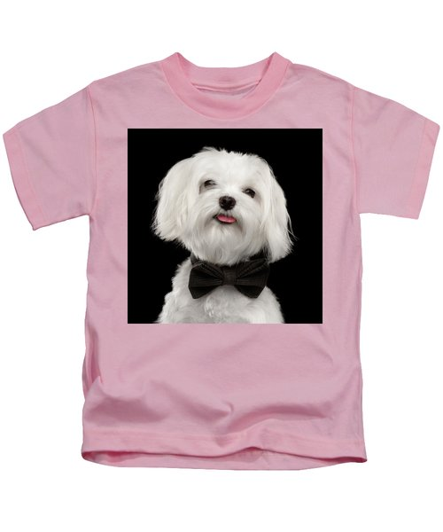 Closeup Portrait Of Happy White Maltese Dog With Bow Looking In Camera Isolated On Black Background Kids T-Shirt