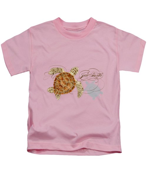 Coastal Waterways - Green Sea Turtle Rectangle 2 Kids T-Shirt by Audrey Jeanne Roberts
