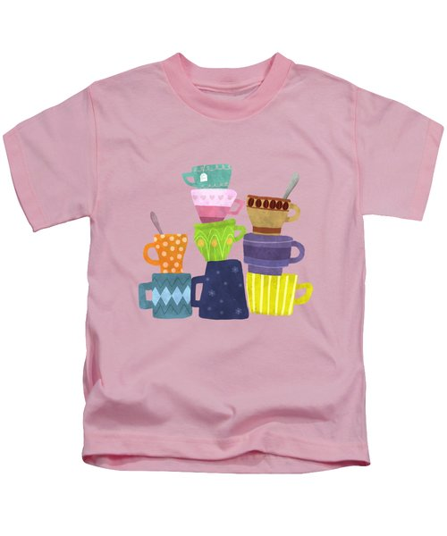 Coffee And Tea Cups And Mugs Stacked High  Kids T-Shirt