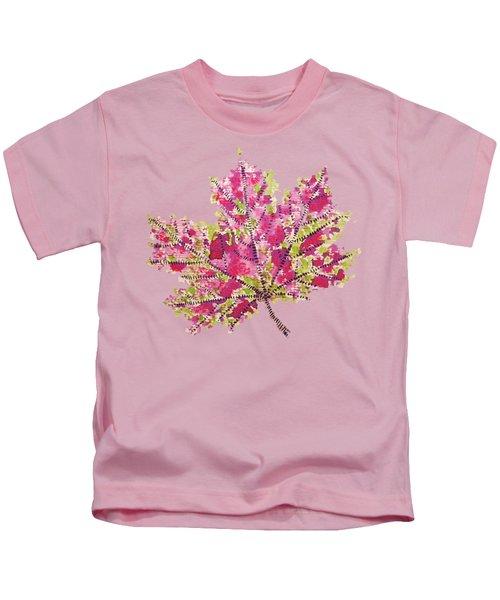 Colorful Watercolor Autumn Leaf Kids T-Shirt