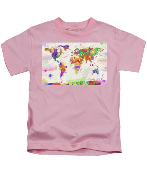 Colorful Watercolor World Map Kids T-Shirt