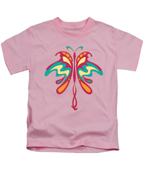 Colourful Art Nouveau Butterfly Kids T-Shirt by Heidi De Leeuw