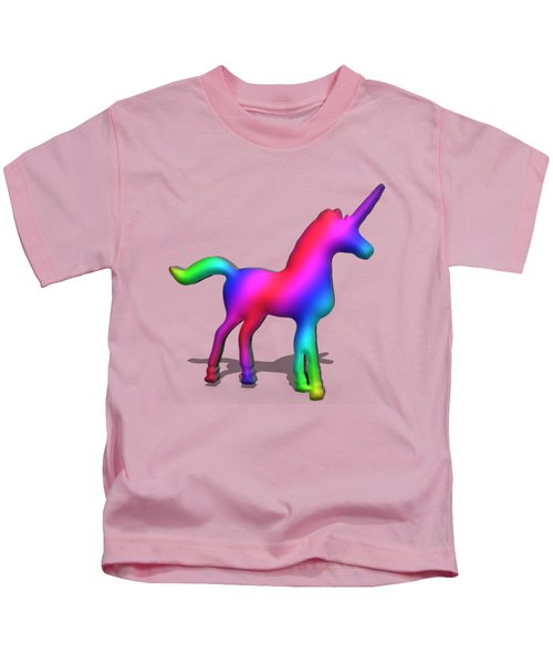 Colourful Unicorn In 3d Kids T-Shirt by Ilan Rosen