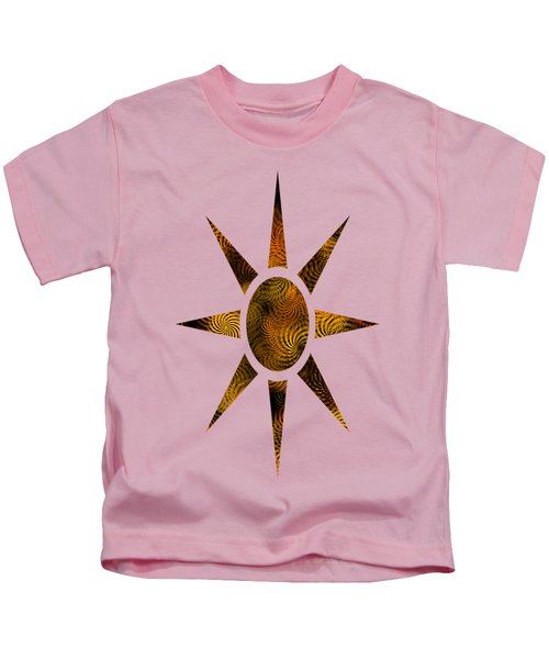 Kids T-Shirt featuring the mixed media Copper Spirals Abstract Square by Christina Rollo
