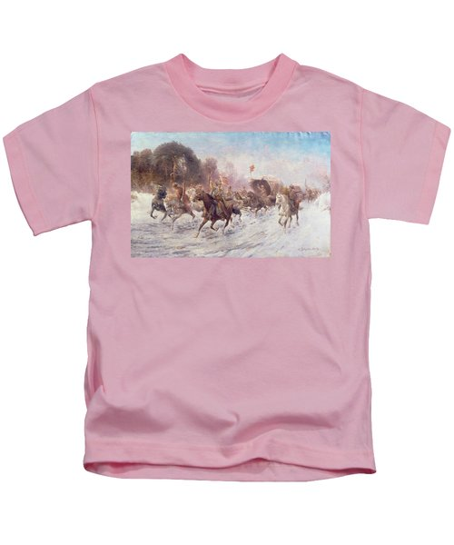 Cossacks In A Winter Landscape   Kids T-Shirt