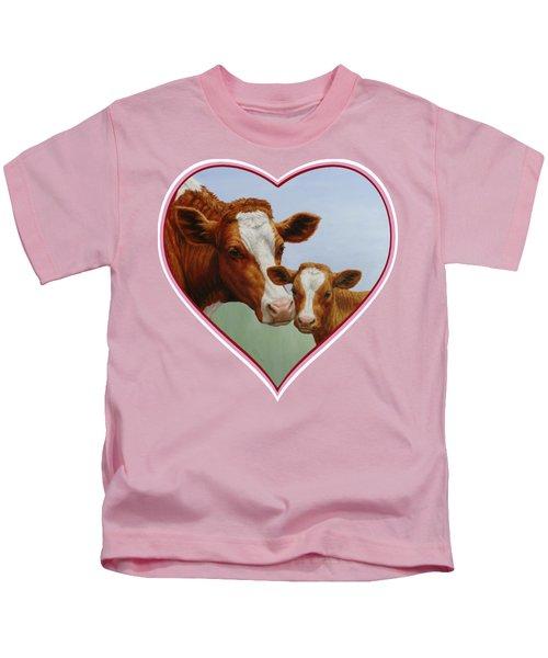 Cow And Calf Pink Heart Kids T-Shirt