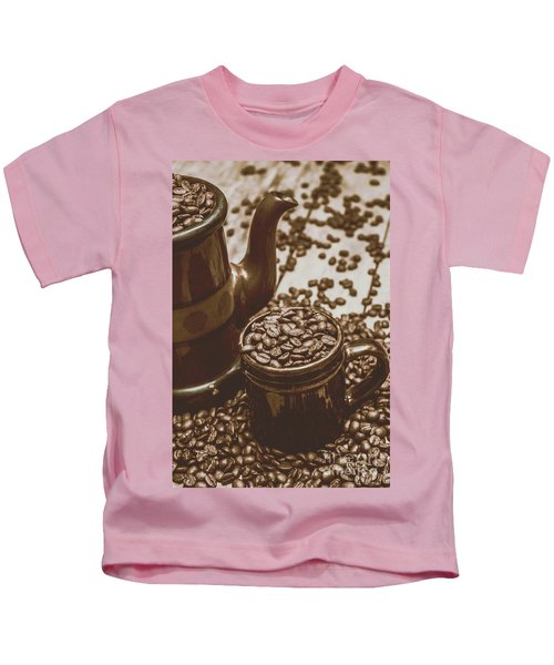Cup And Teapot Filled With Roasted Coffee Beans Kids T-Shirt