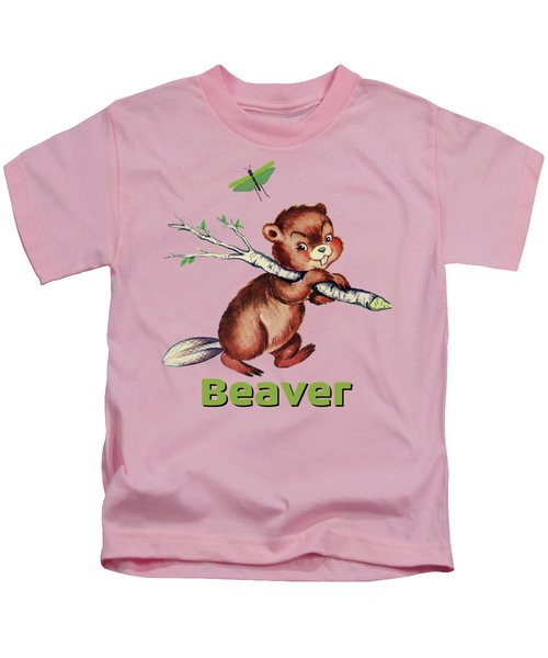 Cute Baby Beaver Pattern Kids T-Shirt by Tina Lavoie