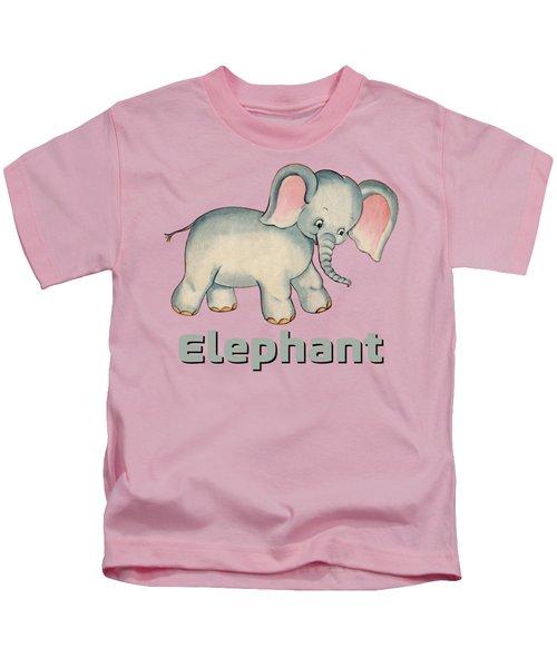 Cute Baby Elephant Pattern Vintage Illustration For Children Kids T-Shirt