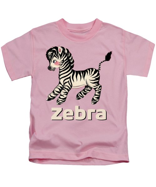 Cute Baby Zebra Pattern Vintage Book Illustration Pattern Kids T-Shirt by Tina Lavoie