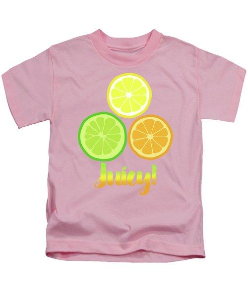 Cute Juicy Orange Lime Lemon Citrus Fun Art Kids T-Shirt by Tina Lavoie