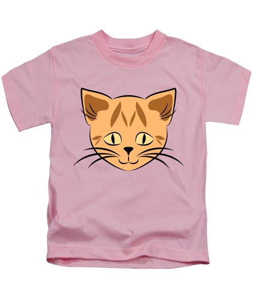 Cute Orange Tabby Cat Face Kids T-Shirt