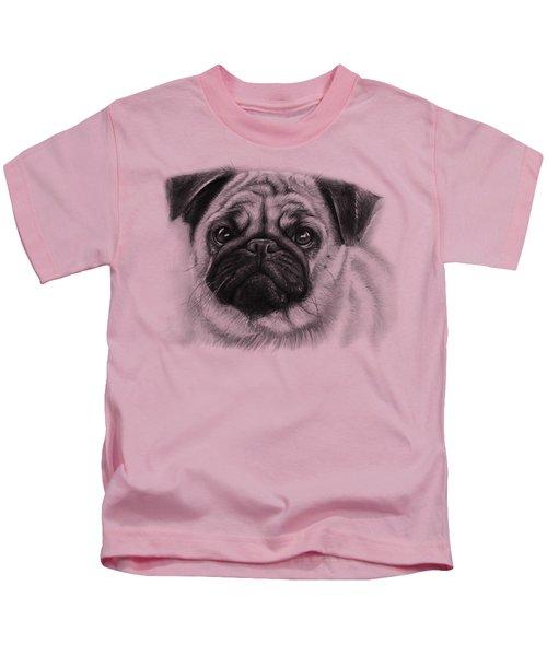 Cute Pug Kids T-Shirt by Olga Shvartsur