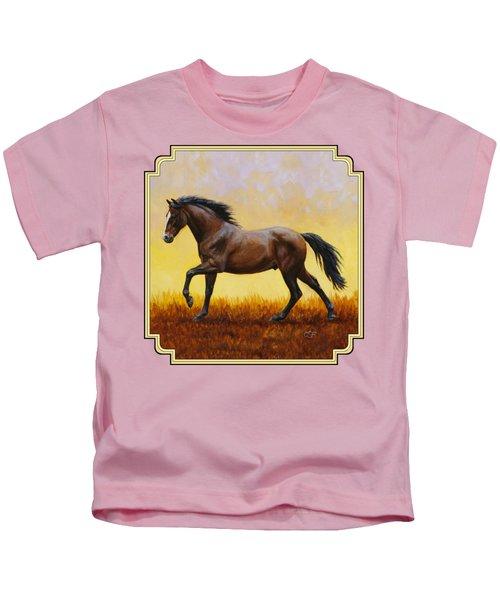 Dark Bay Running Horse Yellow Kids T-Shirt