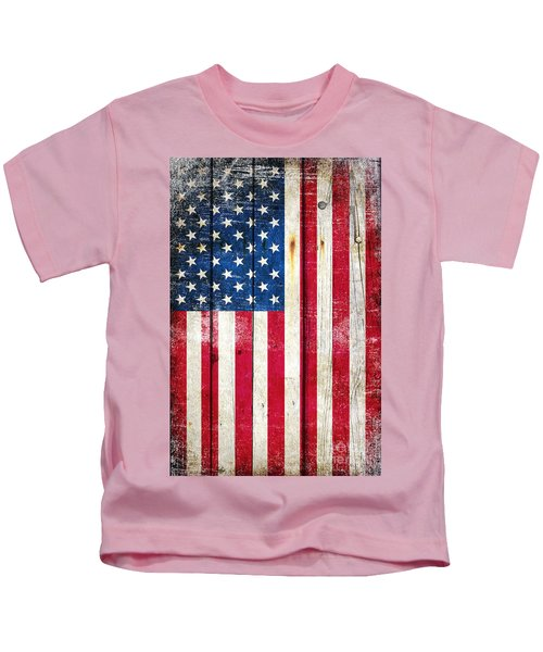 Distressed American Flag On Wood - Vertical Kids T-Shirt
